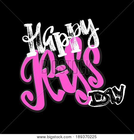 Happy Kiss Day Calligraphic Lettering Poster.