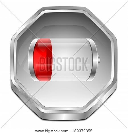 silver red Battery Button - 3D illustration