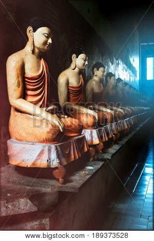 Many Buddha statues in the cave temple against the backdrop of light from the window. Sri Lanka. Tangalle. Mulkirigala Raja Maha Viharaya Temple.