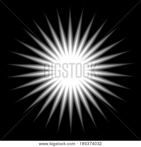Radial white explosion. Element sun rays flash blure star isolated. Vector illustration.