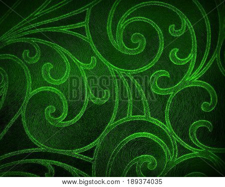 Abstract floral background in green tones. Red pattern.