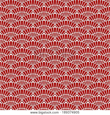 Japanese red seamless pattern fan. Abstract tiled background seashell. Vector illustration.