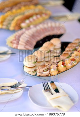 Variety Catering Food On A Table, Food Decoration, Party Concept, Delicatessen