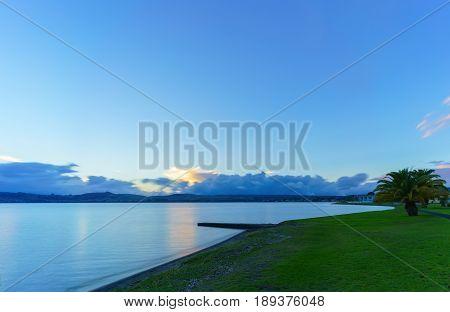 Lake Taupo in sunset Waikato Region North Island of New Zealand