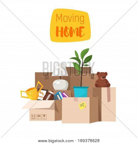 Vector cartoon style illustration of paper boxes with various things from house. Concept for home moving. Isolated on white background.