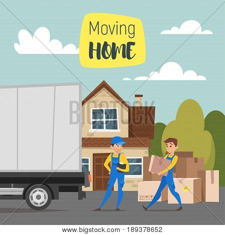 Vector cartoon style illustration of loaders movers man carrying cardboard boxes. House, paper boxes and a truck. Concept for home moving.