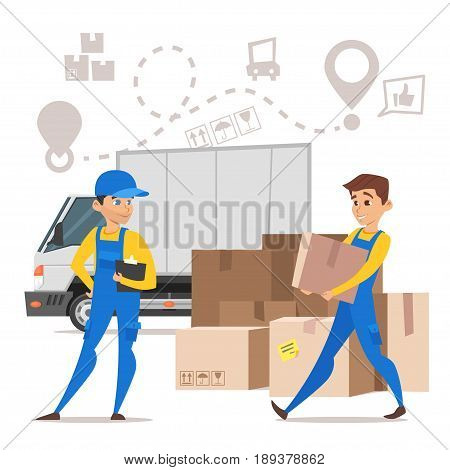Vector cartoon style illustration of loaders movers man carrying cardboard boxes. Paper boxes and a truck. Concept for home moving. Isolated on white background.