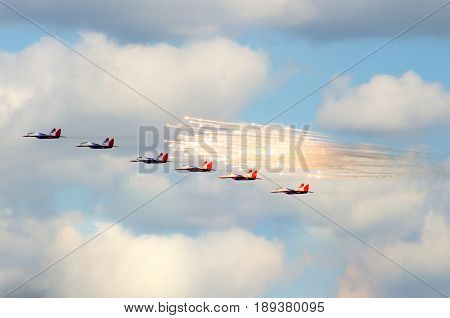 Group Of Six Fighter Aerobatic Team, Swifts. Russia. Moscow August 2015.
