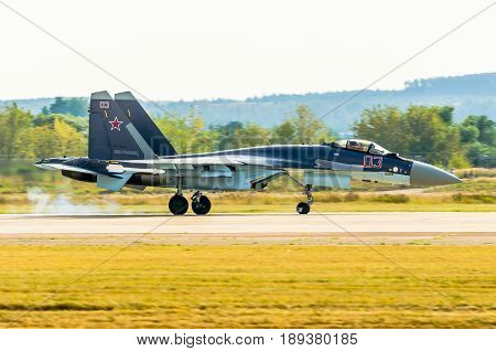 Russian Air Force Jet Su-35. Russia. Moscow August 2015.