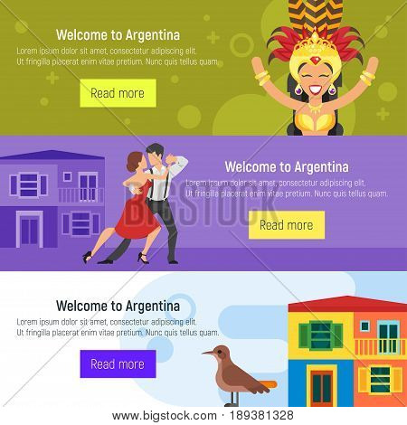 Vector flat style set of Welcome to Argentina template for web banner or poster for tourist. Argentina national cultural symbols.
