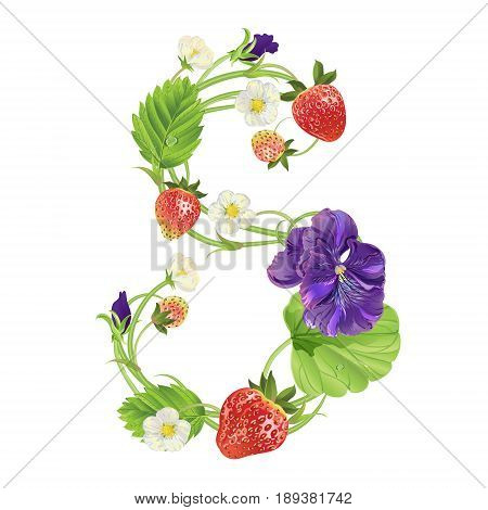 Letter S Strawberry font. Red Berry lettering alphabet. Vector realistic illustration ABC. Design for grocery, farmers market, tea, natural cosmetics, summer garden design element.