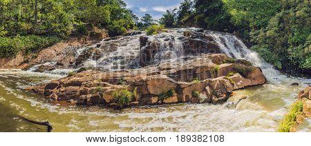 Big Panorama Of Beautiful Camly Waterfall In Da Lat City