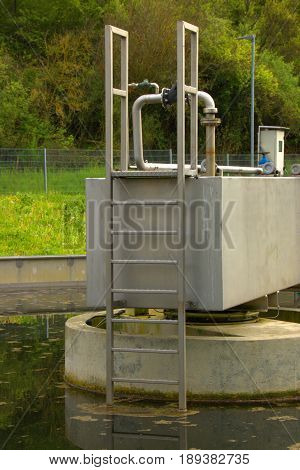 Ladder from a basin, in a wastewater treatment plant