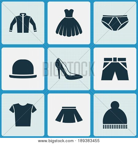 Garment Icons Set. Collection Of Casual, Beanie, Heel Footwear And Other Elements. Also Includes Symbols Such As Clothes, Shorts, Woman.