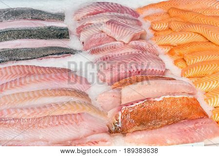 Fish fillets for sale at a market