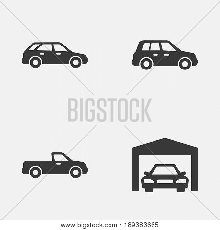 Automobile Icons Set. Collection Of Hatchback, Car, Repairing And Other Elements. Also Includes Symbols Such As Pickup, Hatchback, Garage.
