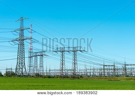 Transmission towers and relay station seen in Germany