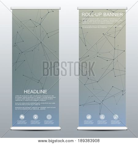 Roll-up banner for presentation and publication. Medicine science technology and business templates. Structure of molecular particles and atom. Polygonal abstract background