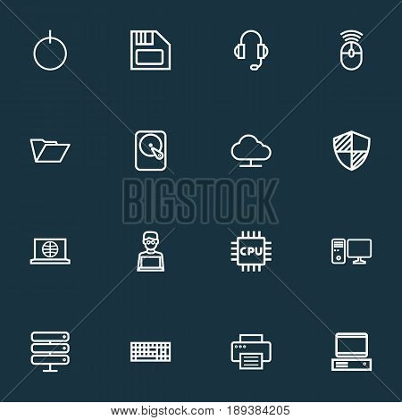 Hardware Outline Icons Set. Collection Of Power, Printer, PC And Other Elements. Also Includes Symbols Such As Online, Device, Connect.