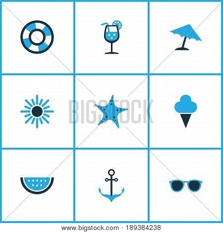 Hot Colorful Icons Set. Collection Of Umbrella, Lifebuoy, Starfish And Other Elements. Also Includes Symbols Such As Sailing, Anchor, Cream.