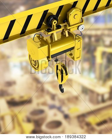 Overhead Crane Isolated On Factory Background 3D