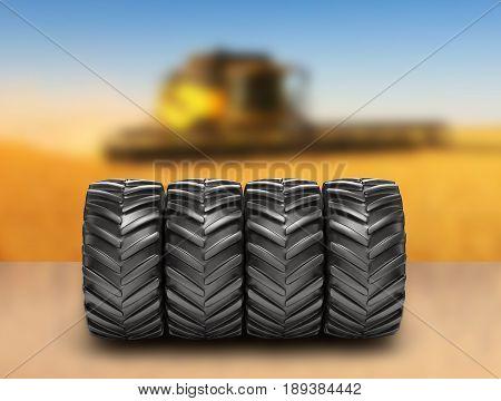 Off-road wheels on agricultural background 3D render