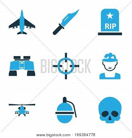 Battle Colorful Icons Set. Collection Of Fighter, Aim, Soldier And Other Elements. Also Includes Symbols Such As Binoculars, Target, Grenade.