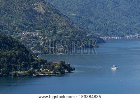 Panoramic view of the lake of Como_promontory of Bellagio from Vezio castle