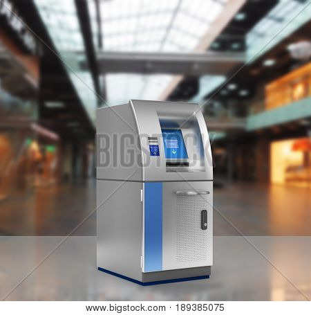 Atm Bank Cash Machine Without Shadow On Shopping Center Background 3D