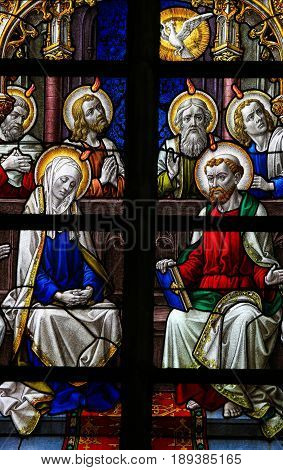Stained Glass - Mary And The Apostles At Pentecost
