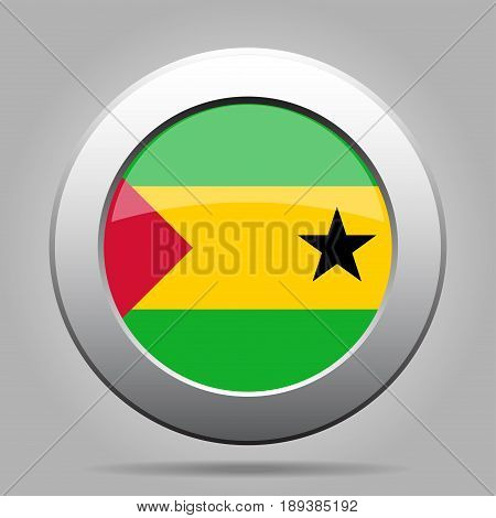 National flag of Sao Tome and Principe. Shiny metal gray round button with shadow.