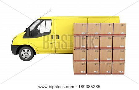Yellow Delivery Van With Cardboard Boxes Side View Without Shadow Isolated On White Background 3D