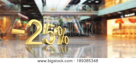 Gold Text 25 Percent Off On White Background With Reflection 3D Render
