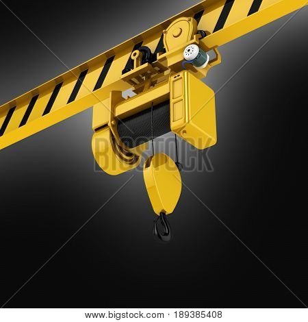 Overhead Crane Perspective View On Black Gradient Background 3D