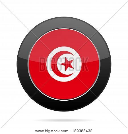 National flag of Tunisia. Shiny black round button with shadow.