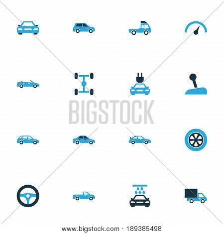 Automobile Colorful Icons Set. Collection Of Sports Automobile, Sedan, Vehicle Wash And Other Elements. Also Includes Symbols Such As Wash, Sedan, Cabriolet.