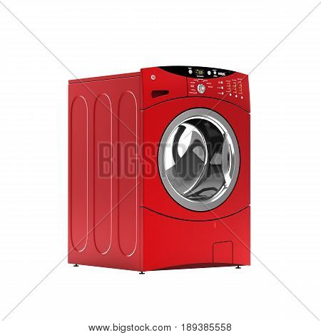 Red Washing Machine Without Shadow On White Background 3D Illustration