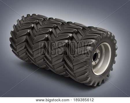 Off-road Wheels Without Shadow On Grey Background 3D