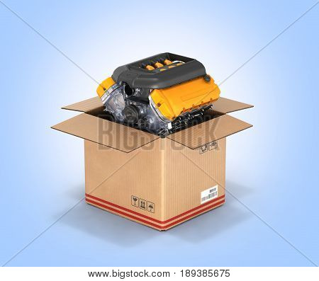 Engine In A Cardboard Box Concept Of Sale And Delivery Of Auto Parts On Blue Gradient Background Wit