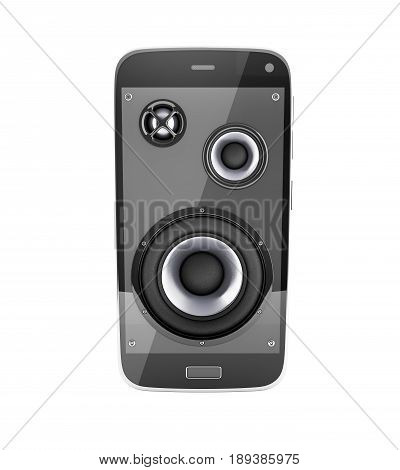 Musical Smartphone Mobile Phone Music App Cellphone And Loudspeakers With Notes Without Shadow On Wh