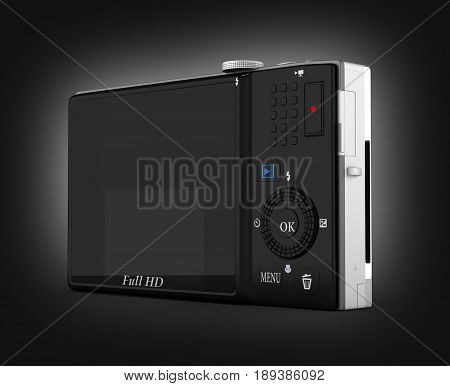 Digital Photo Camera On Black Gradient Background 3D