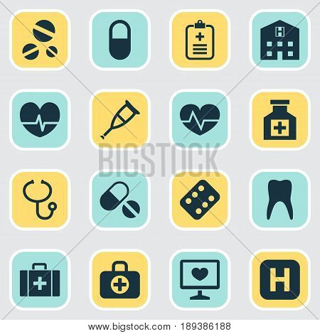 Medicine Icons Set. Collection Of Beating, Retreat, Pills And Other Elements. Also Includes Symbols Such As Pulse, Illness, Infirmary.