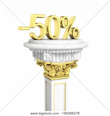 Gold Text 50 Percent Off Standing On The Pedestal Isolated On White Background 3D Render