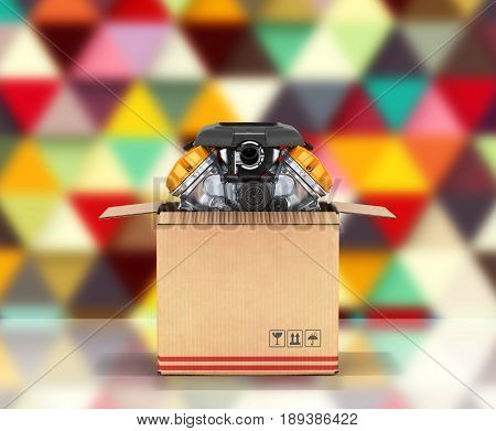 Engine In A Cardboard Box Concept Of Sale And Delivery Of Auto Parts On Abstract Background 3D