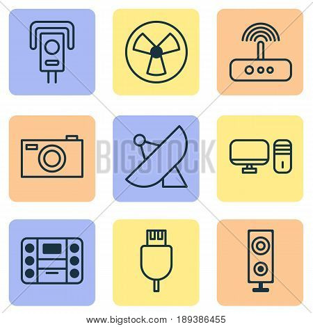 Hardware Icons Set. Collection Of Digital Camera, Universal Serial Bus, Ventilator And Other Elements. Also Includes Symbols Such As Plug, Fan, PC.