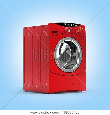 Red Washing Machine Without Shadow On Blue Gradient Background 3D Illustration