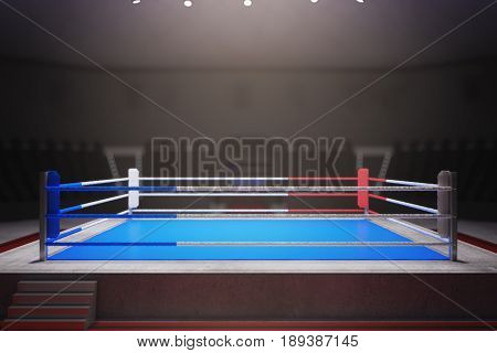 Empty boxing ring surrounded with ropes. Toned image. Front view 3D Rendering