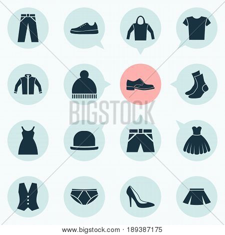 Garment Icons Set. Collection Of Beanie, Sneakers, Waistcoat And Other Elements. Also Includes Symbols Such As Panama, Sundress, Gumshoes.
