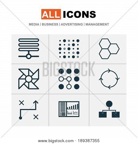 Machine Learning Icons Set. Collection Of Solution, Laptop Ventilator, Recurring Program And Other Elements. Also Includes Symbols Such As Computing, Information, Structure.