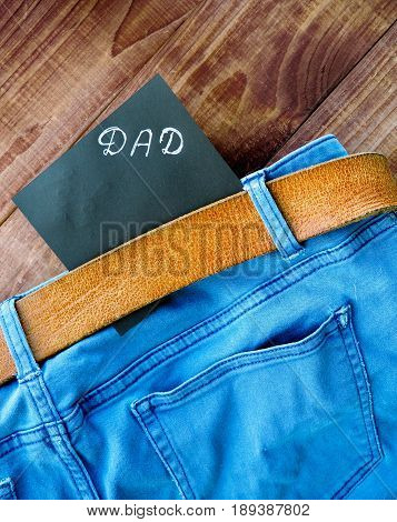 Father's Day Card. Jeans Pocket Masculine Present For Best Daddy.